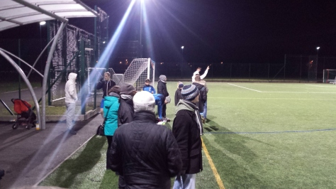 A few supporters braved the cold to watch